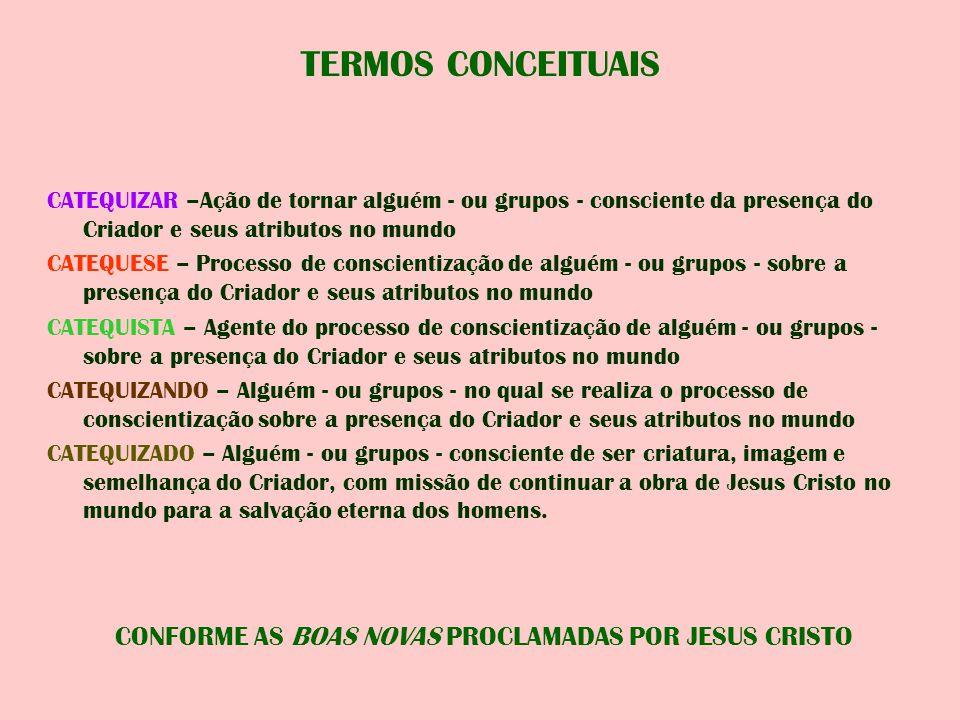 CONFORME AS BOAS NOVAS PROCLAMADAS POR JESUS CRISTO