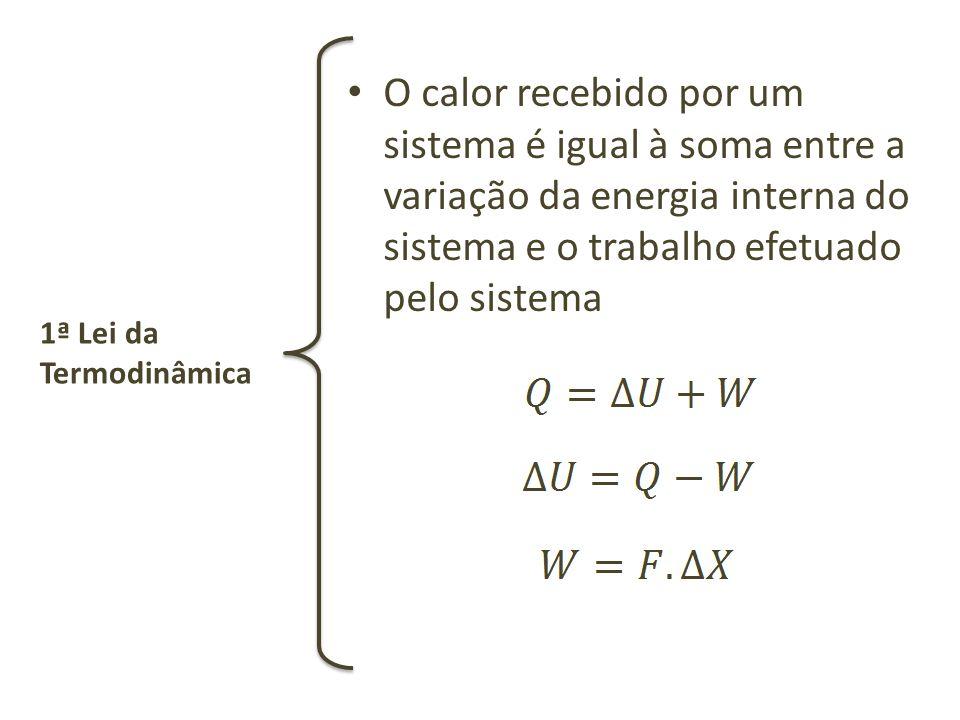 O calor recebido por um sistema é igual à soma entre a variação da energia interna do sistema e o trabalho efetuado pelo sistema