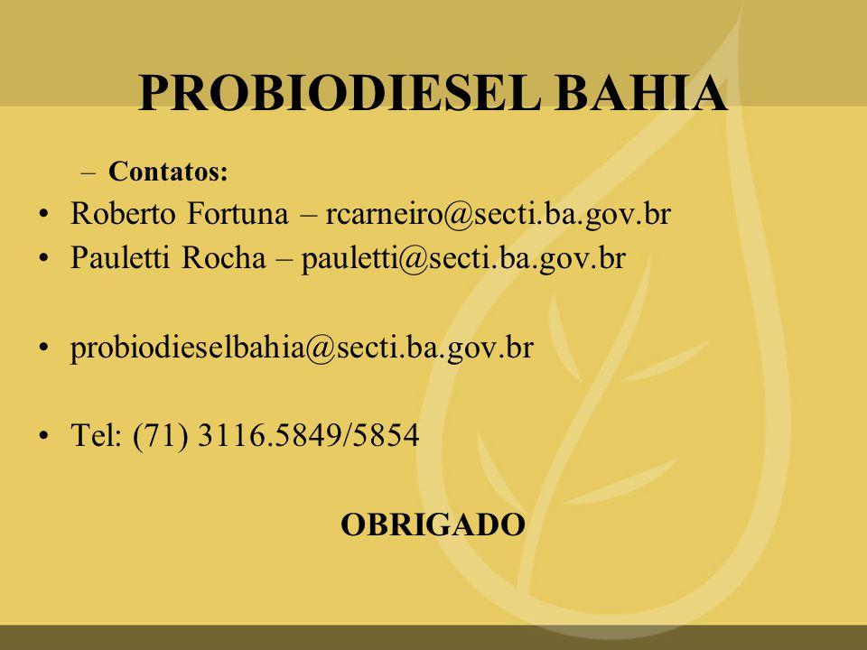 PROBIODIESEL BAHIA Roberto Fortuna – rcarneiro@secti.ba.gov.br
