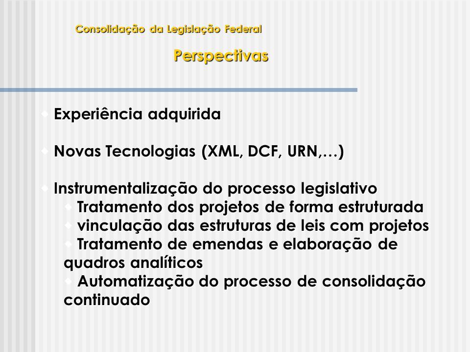 Experiência adquirida Novas Tecnologias (XML, DCF, URN,…)