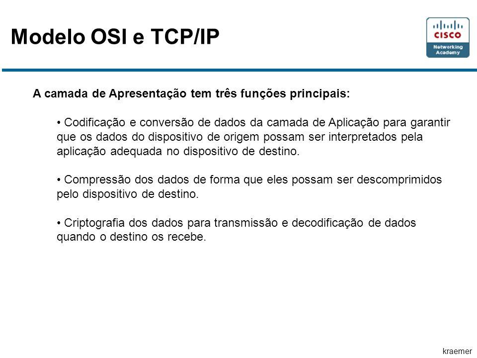 Modelo OSI e TCP/IP A camada de Apresentação tem três funções principais: