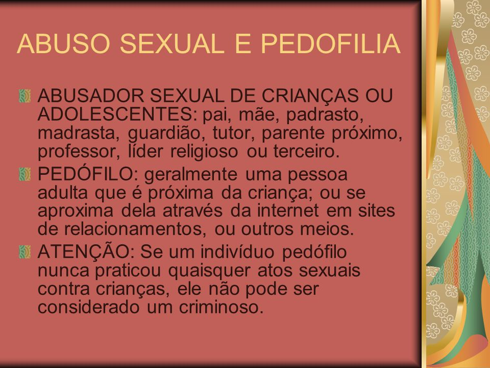 ABUSO SEXUAL E PEDOFILIA