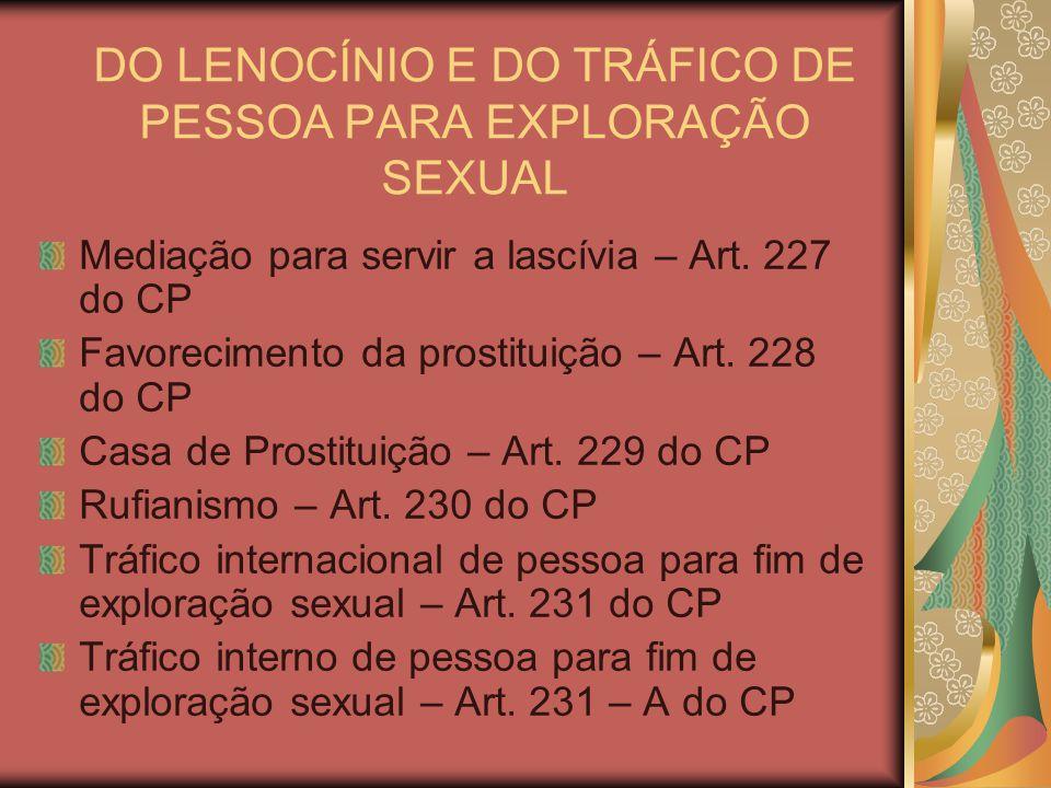 DO LENOCÍNIO E DO TRÁFICO DE PESSOA PARA EXPLORAÇÃO SEXUAL