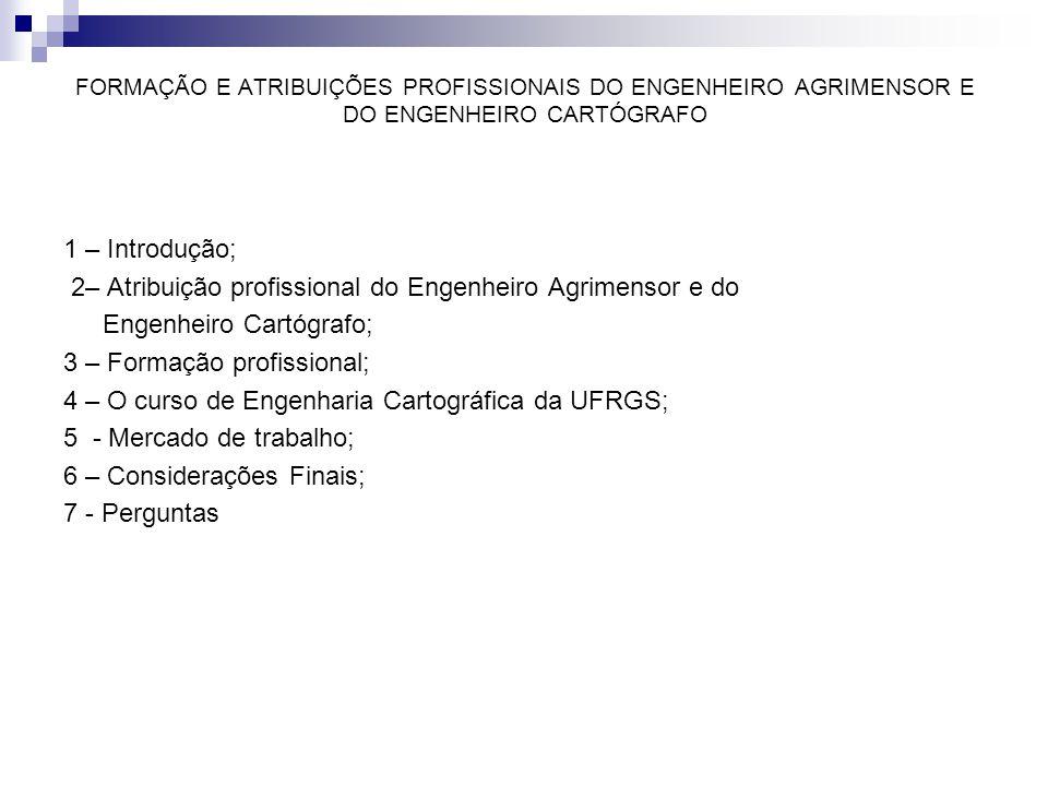 2– Atribuição profissional do Engenheiro Agrimensor e do