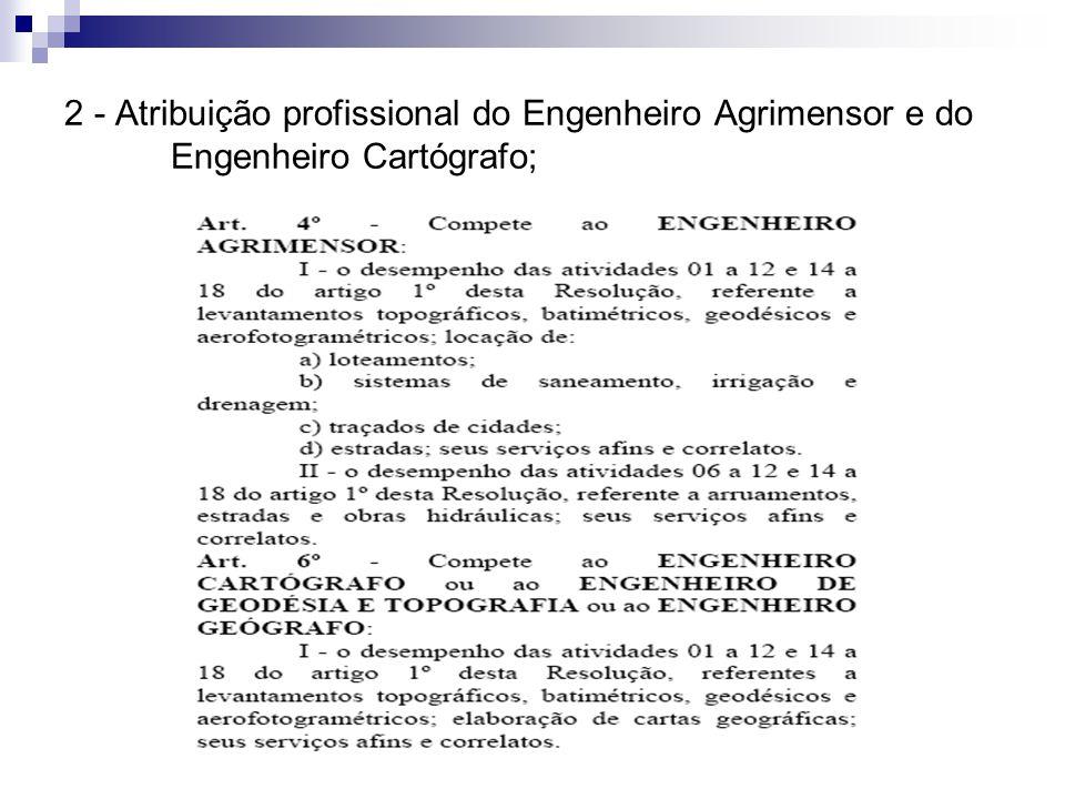 2 - Atribuição profissional do Engenheiro Agrimensor e do