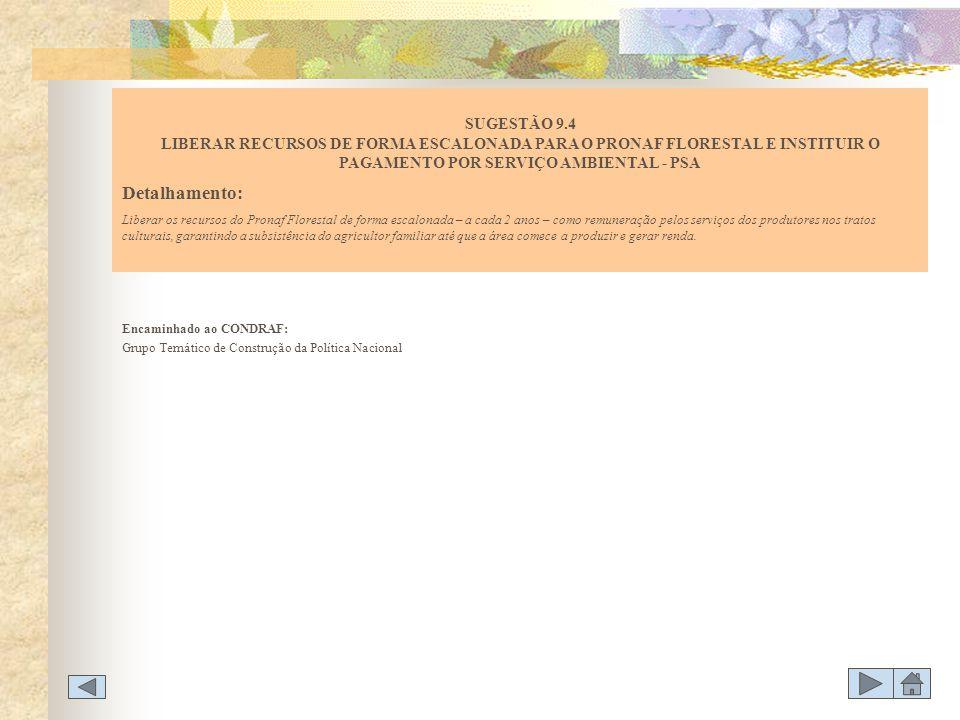 SUGESTÃO 9.4 LIBERAR RECURSOS DE FORMA ESCALONADA PARA O PRONAF FLORESTAL E INSTITUIR O PAGAMENTO POR SERVIÇO AMBIENTAL - PSA