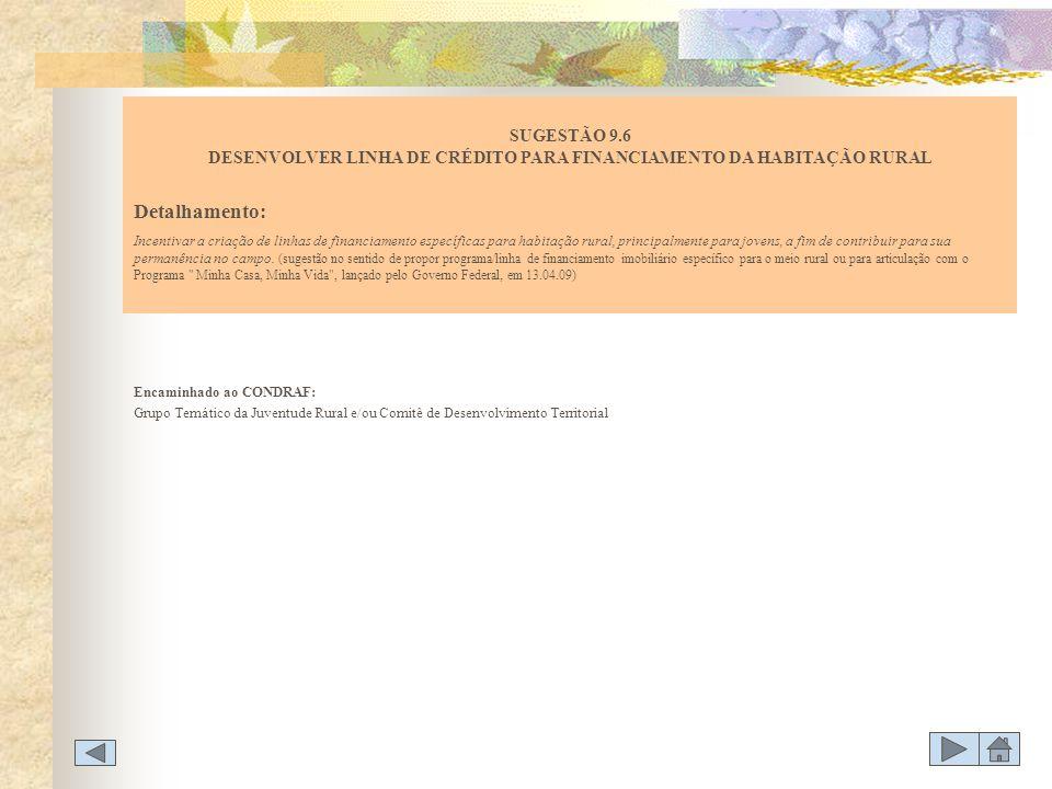 SUGESTÃO 9.6 DESENVOLVER LINHA DE CRÉDITO PARA FINANCIAMENTO DA HABITAÇÃO RURAL