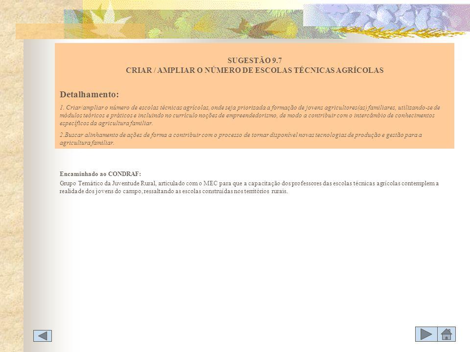 SUGESTÃO 9.7 CRIAR / AMPLIAR O NÚMERO DE ESCOLAS TÉCNICAS AGRÍCOLAS