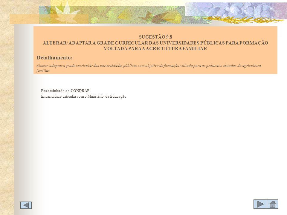 SUGESTÃO 9.8 ALTERAR/ ADAPTAR A GRADE CURRICULAR DAS UNIVERSIDADES PÚBLICAS PARA FORMAÇÃO VOLTADA PARA A AGRICULTURA FAMILIAR