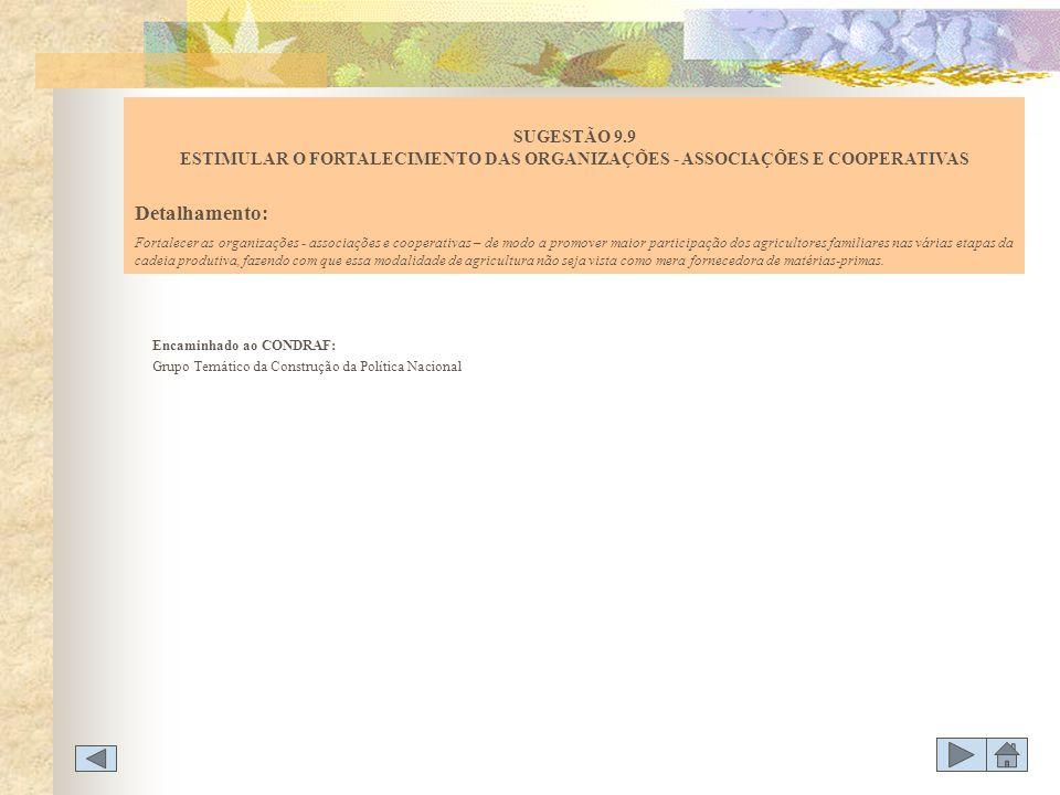 SUGESTÃO 9.9 ESTIMULAR O FORTALECIMENTO DAS ORGANIZAÇÕES - ASSOCIAÇÕES E COOPERATIVAS