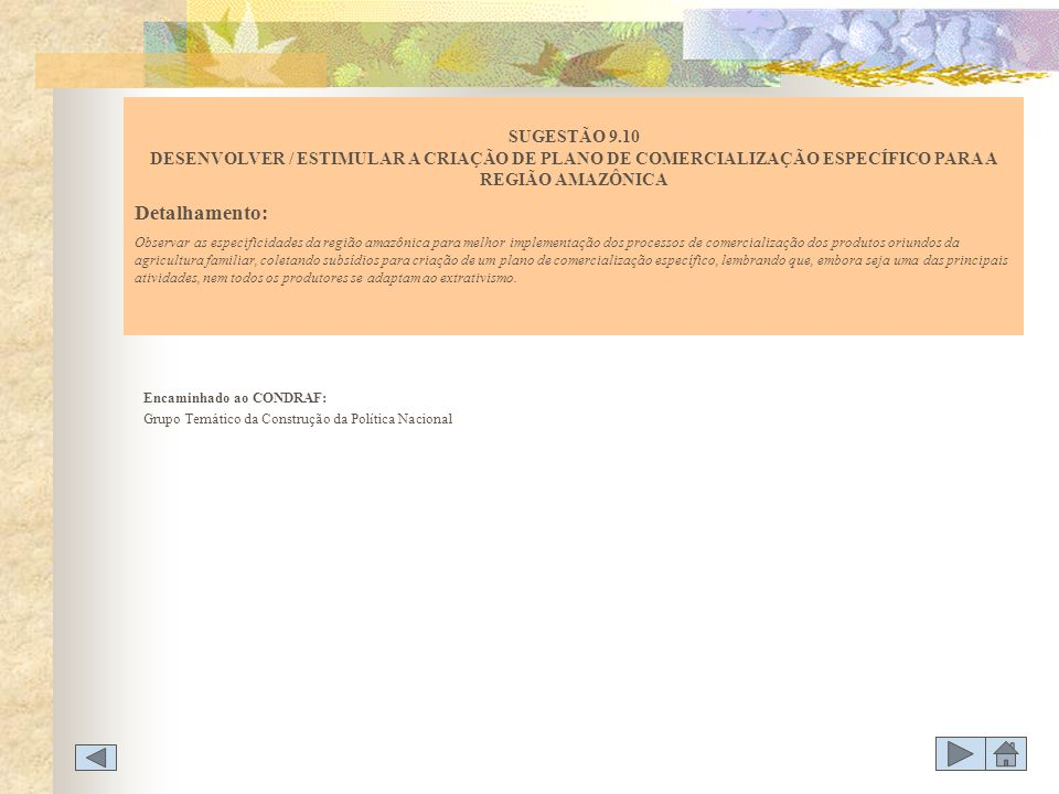 SUGESTÃO 9.10 DESENVOLVER / ESTIMULAR A CRIAÇÃO DE PLANO DE COMERCIALIZAÇÃO ESPECÍFICO PARA A REGIÃO AMAZÔNICA