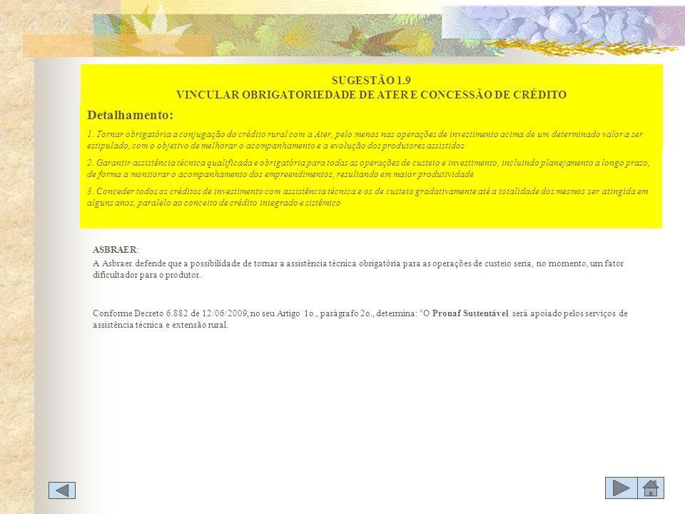 SUGESTÃO 1.9 VINCULAR OBRIGATORIEDADE DE ATER E CONCESSÃO DE CRÉDITO