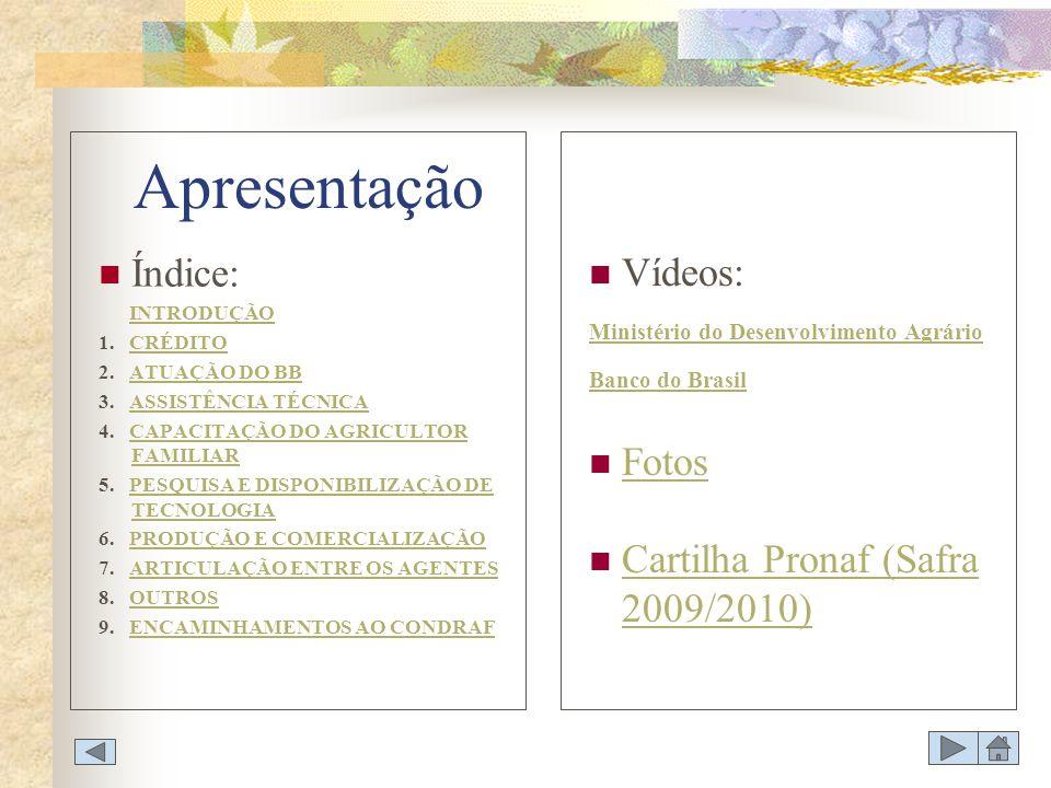 Apresentação Índice: Vídeos: Fotos Cartilha Pronaf (Safra 2009/2010)