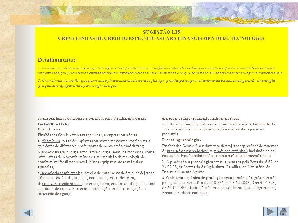 SUGESTÃO 1.15 CRIAR LINHAS DE CRÉDITO ESPECÍFICAS PARA FINANCIAMENTO DE TECNOLOGIA