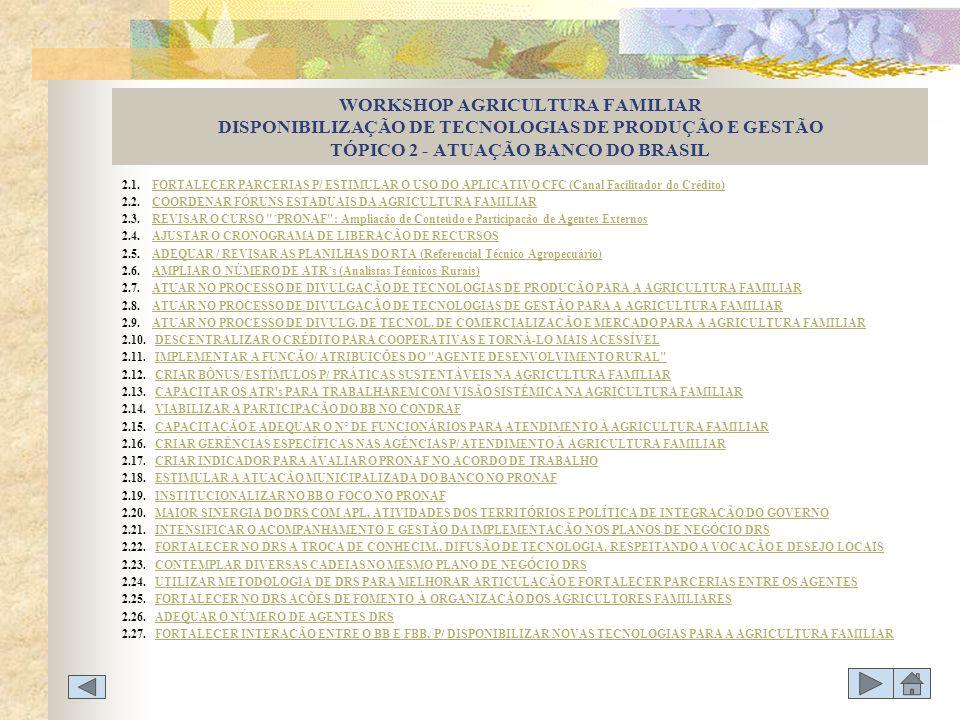 WORKSHOP AGRICULTURA FAMILIAR DISPONIBILIZAÇÃO DE TECNOLOGIAS DE PRODUÇÃO E GESTÃO TÓPICO 2 - ATUAÇÃO BANCO DO BRASIL