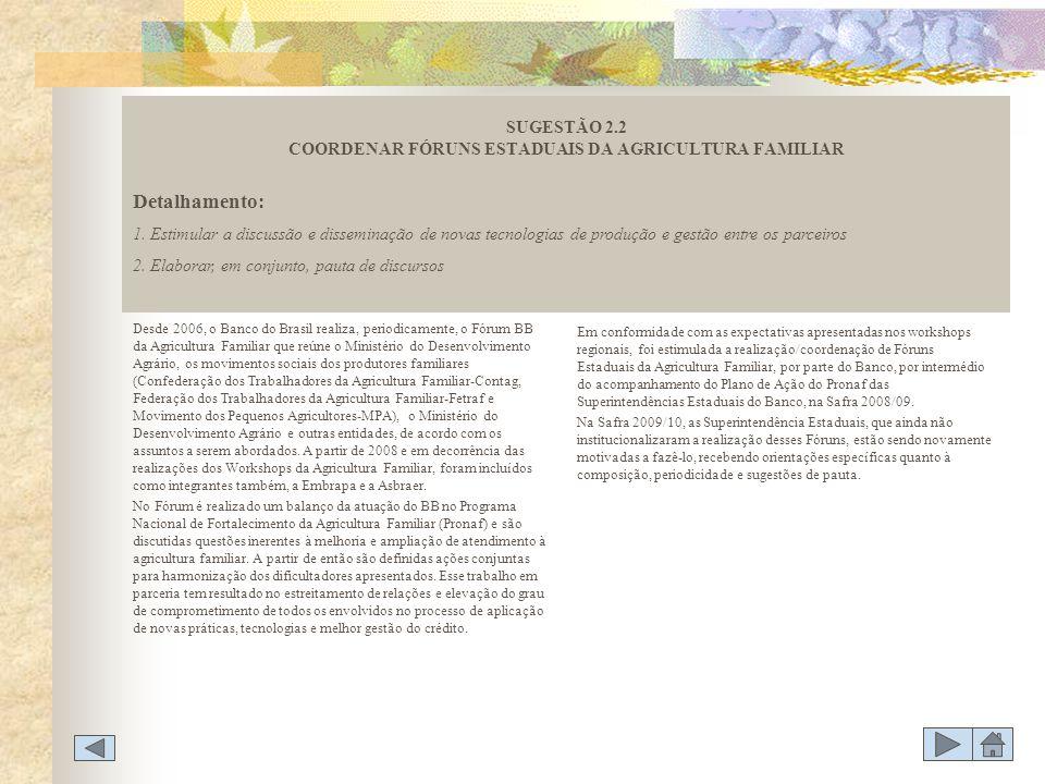 SUGESTÃO 2.2 COORDENAR FÓRUNS ESTADUAIS DA AGRICULTURA FAMILIAR