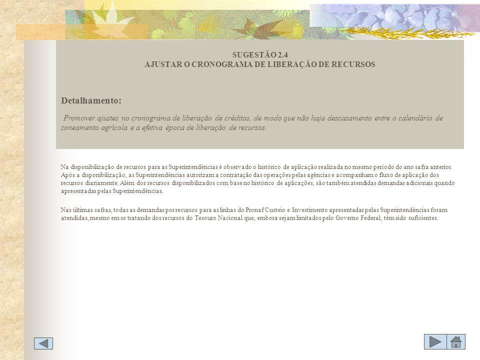 SUGESTÃO 2.4 AJUSTAR O CRONOGRAMA DE LIBERAÇÃO DE RECURSOS