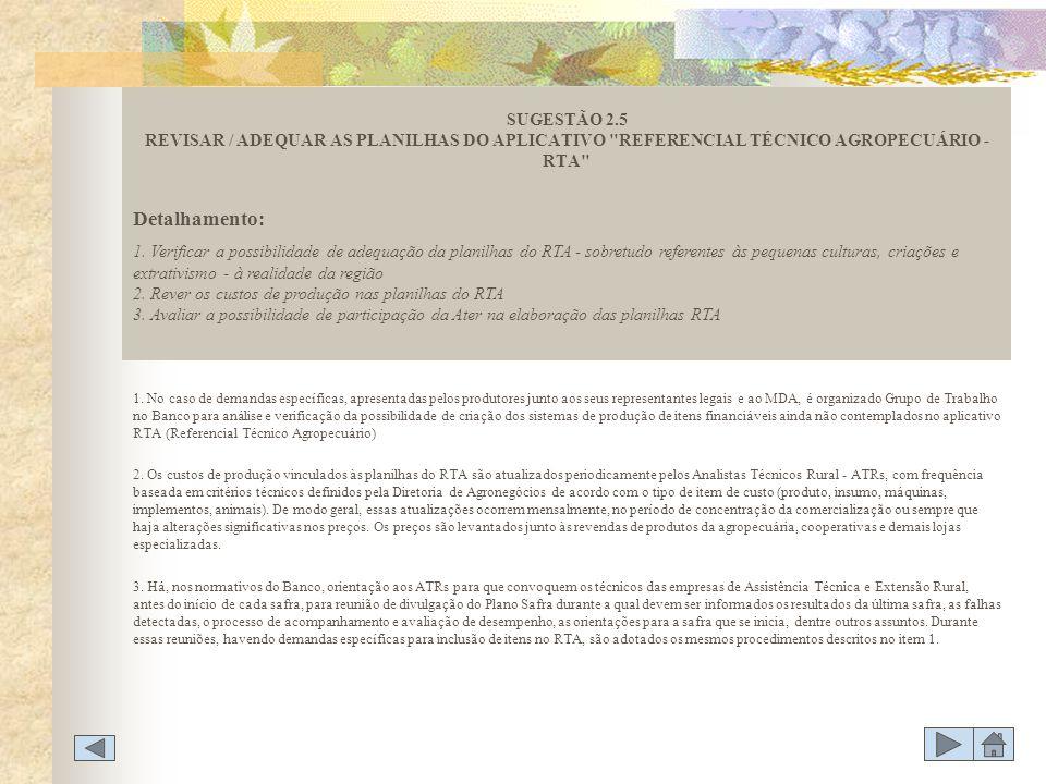 SUGESTÃO 2.5 REVISAR / ADEQUAR AS PLANILHAS DO APLICATIVO REFERENCIAL TÉCNICO AGROPECUÁRIO - RTA