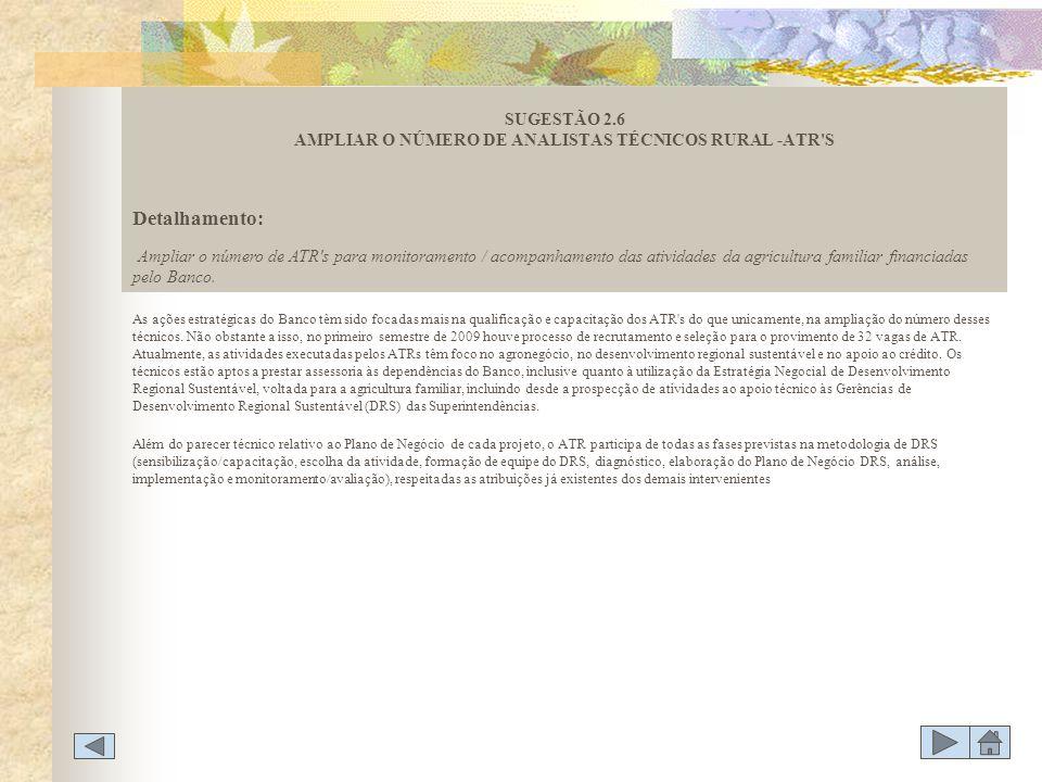 SUGESTÃO 2.6 AMPLIAR O NÚMERO DE ANALISTAS TÉCNICOS RURAL -ATR S