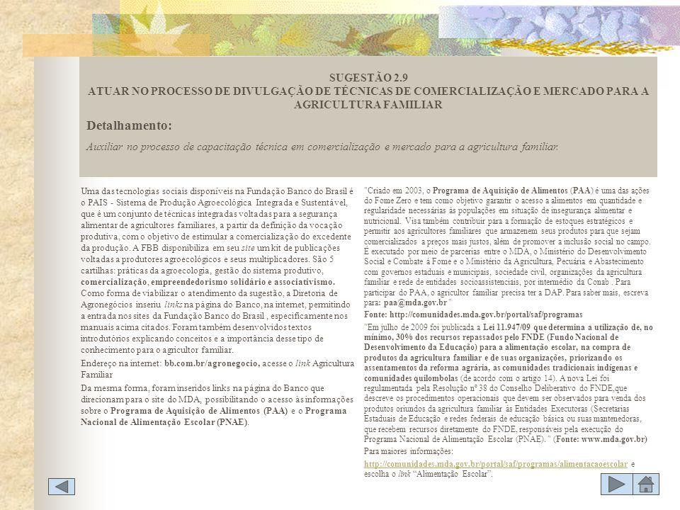 SUGESTÃO 2.9 ATUAR NO PROCESSO DE DIVULGAÇÃO DE TÉCNICAS DE COMERCIALIZAÇÃO E MERCADO PARA A AGRICULTURA FAMILIAR
