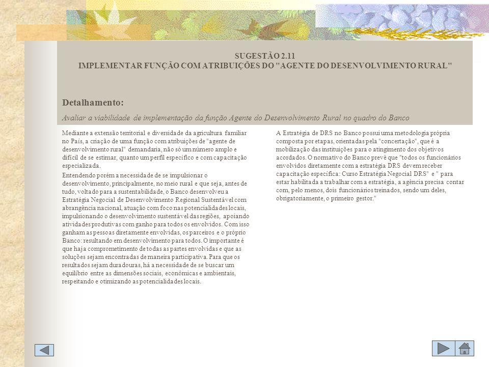 SUGESTÃO 2.11 IMPLEMENTAR FUNÇÃO COM ATRIBUIÇÕES DO AGENTE DO DESENVOLVIMENTO RURAL
