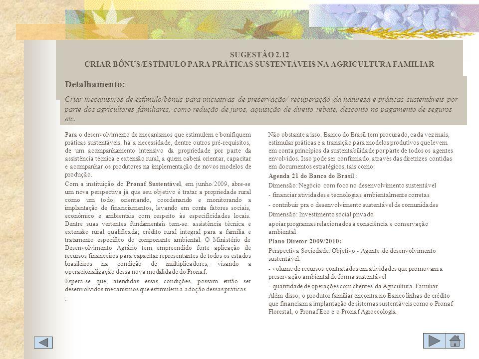 SUGESTÃO 2.12 CRIAR BÔNUS/ESTÍMULO PARA PRÁTICAS SUSTENTÁVEIS NA AGRICULTURA FAMILIAR