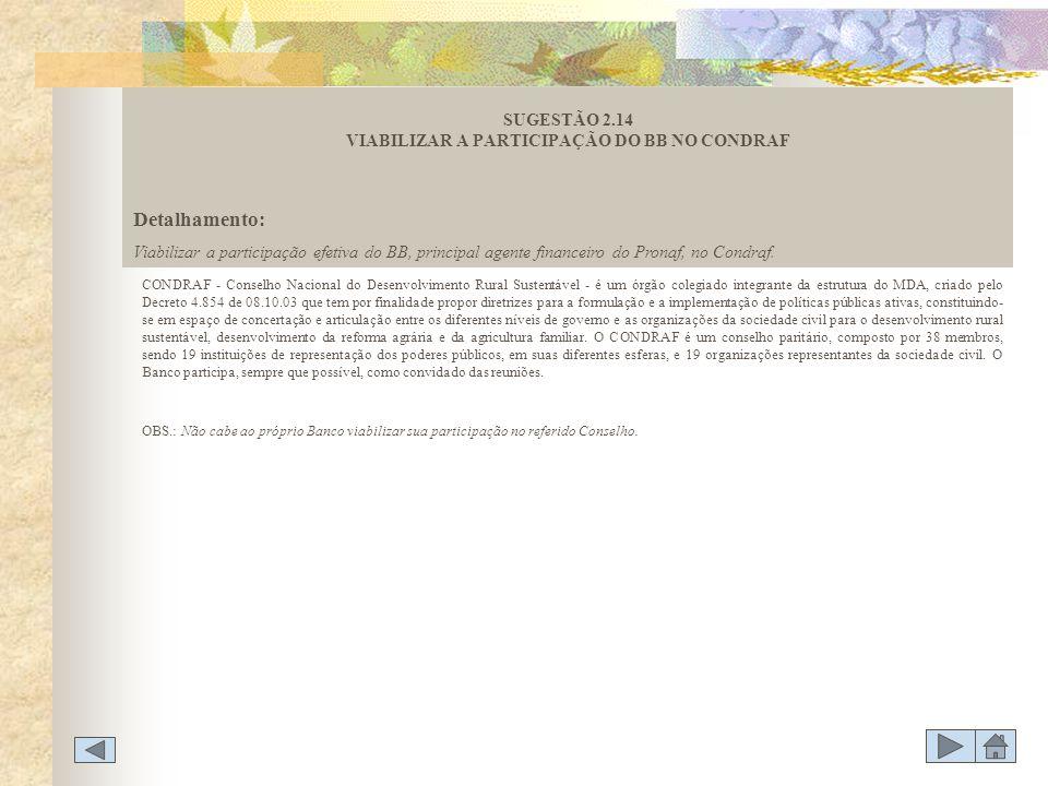 SUGESTÃO 2.14 VIABILIZAR A PARTICIPAÇÃO DO BB NO CONDRAF