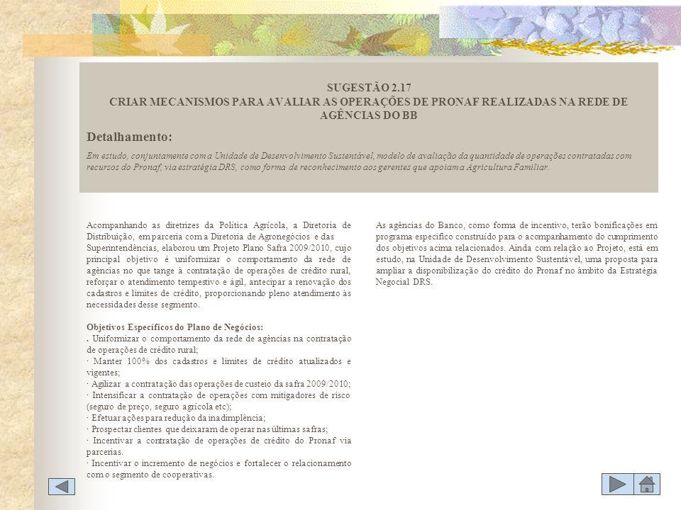 SUGESTÃO 2.17 CRIAR MECANISMOS PARA AVALIAR AS OPERAÇÕES DE PRONAF REALIZADAS NA REDE DE AGÊNCIAS DO BB
