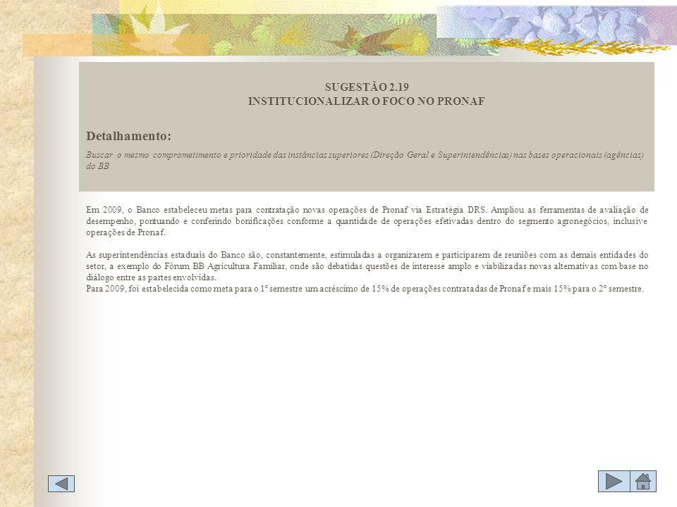 SUGESTÃO 2.19 INSTITUCIONALIZAR O FOCO NO PRONAF
