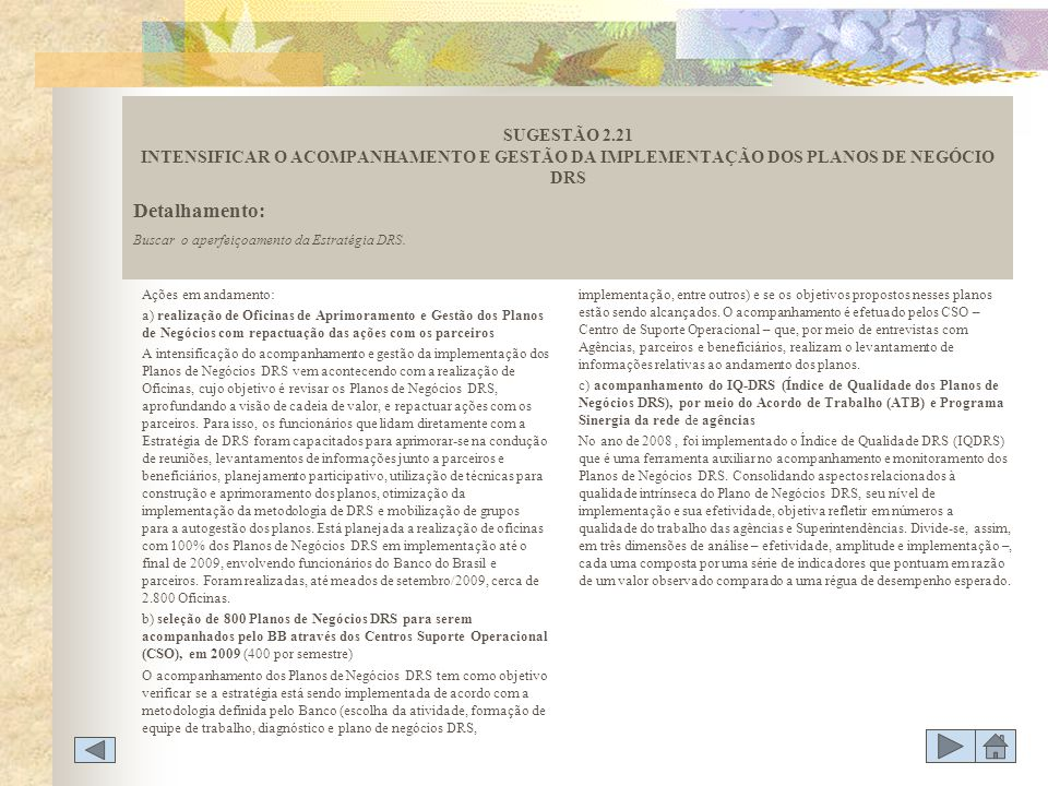 SUGESTÃO 2.21 INTENSIFICAR O ACOMPANHAMENTO E GESTÃO DA IMPLEMENTAÇÃO DOS PLANOS DE NEGÓCIO DRS