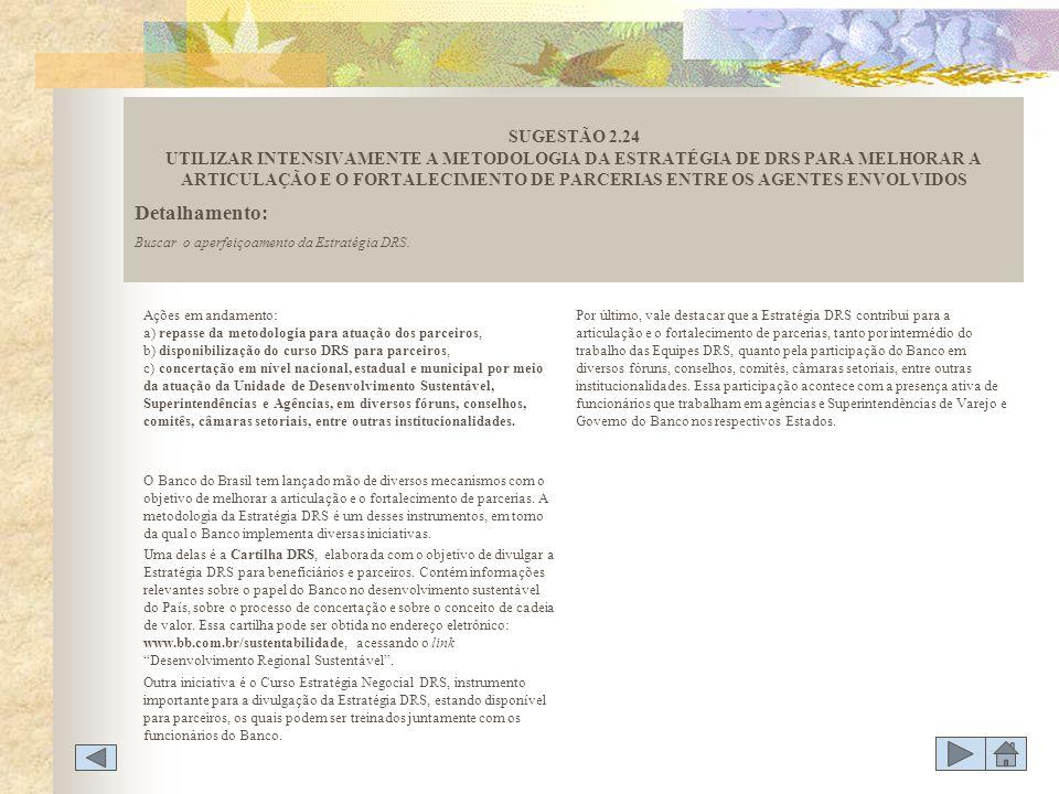 SUGESTÃO 2.24 UTILIZAR INTENSIVAMENTE A METODOLOGIA DA ESTRATÉGIA DE DRS PARA MELHORAR A ARTICULAÇÃO E O FORTALECIMENTO DE PARCERIAS ENTRE OS AGENTES ENVOLVIDOS