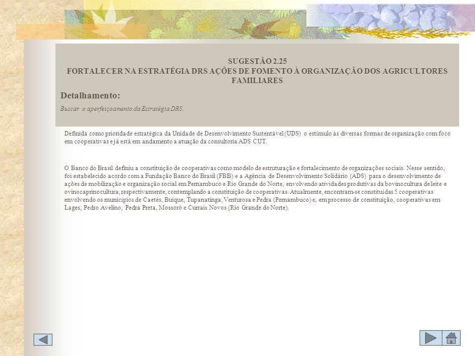 SUGESTÃO 2.25 FORTALECER NA ESTRATÉGIA DRS AÇÕES DE FOMENTO À ORGANIZAÇÃO DOS AGRICULTORES FAMILIARES