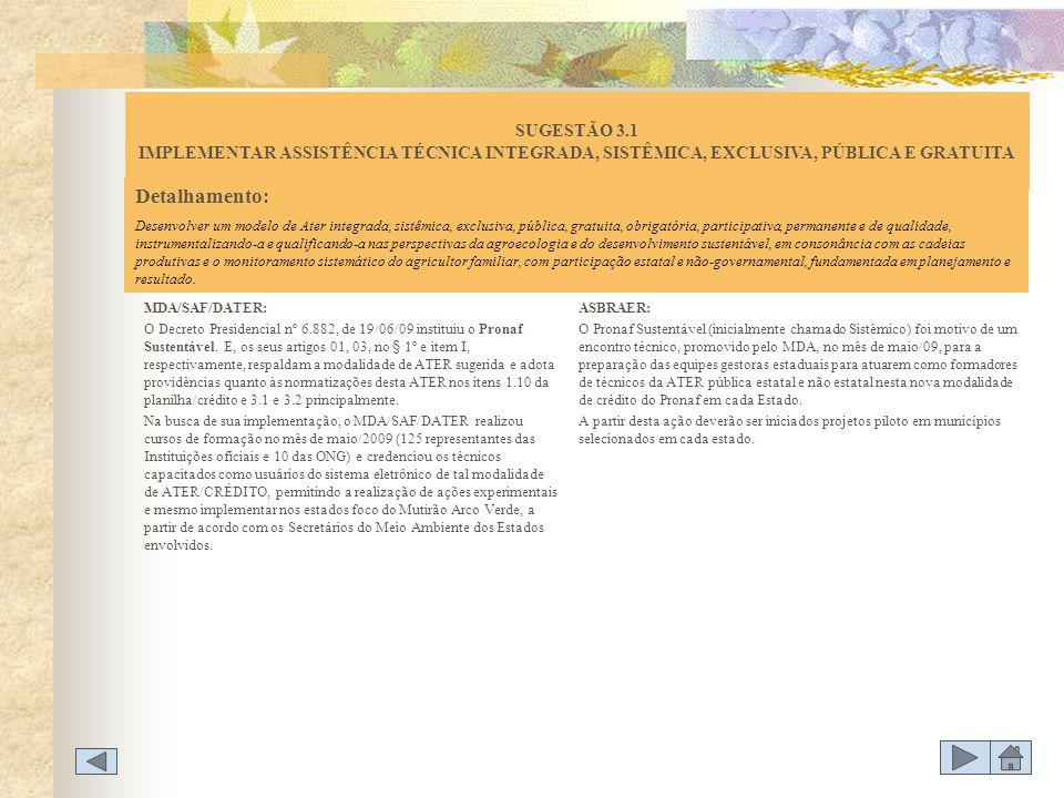 SUGESTÃO 3.1 IMPLEMENTAR ASSISTÊNCIA TÉCNICA INTEGRADA, SISTÊMICA, EXCLUSIVA, PÚBLICA E GRATUITA
