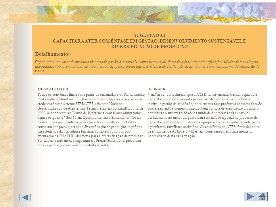 SUGESTÃO 3.2 CAPACITAR A ATER COM ÊNFASE EM GESTÃO, DESENVOLVIMENTO SUSTENTÁVEL E DIVERSIFICAÇÃO DE PRODUÇÃO
