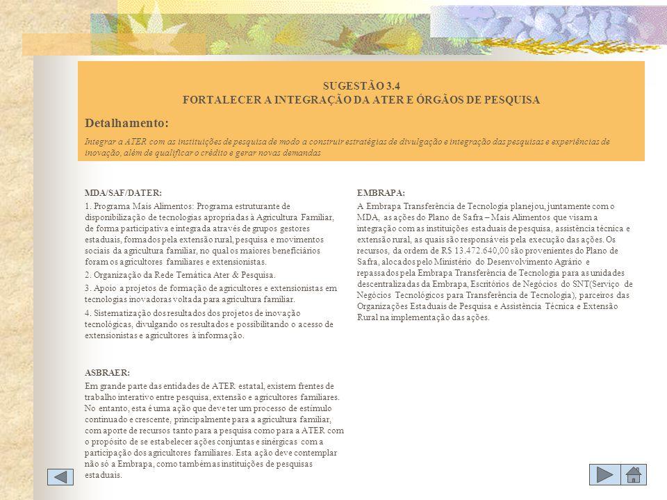 SUGESTÃO 3.4 FORTALECER A INTEGRAÇÃO DA ATER E ÓRGÃOS DE PESQUISA