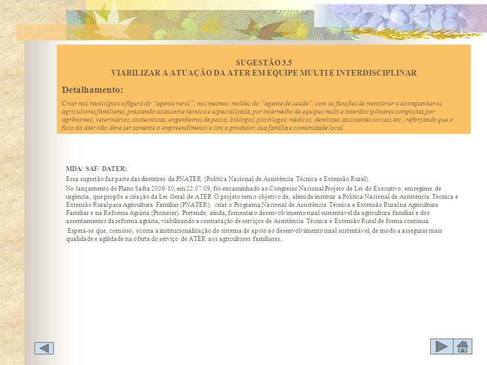 SUGESTÃO 3.5 VIABILIZAR A ATUAÇÃO DA ATER EM EQUIPE MULTI E INTERDISCIPLINAR