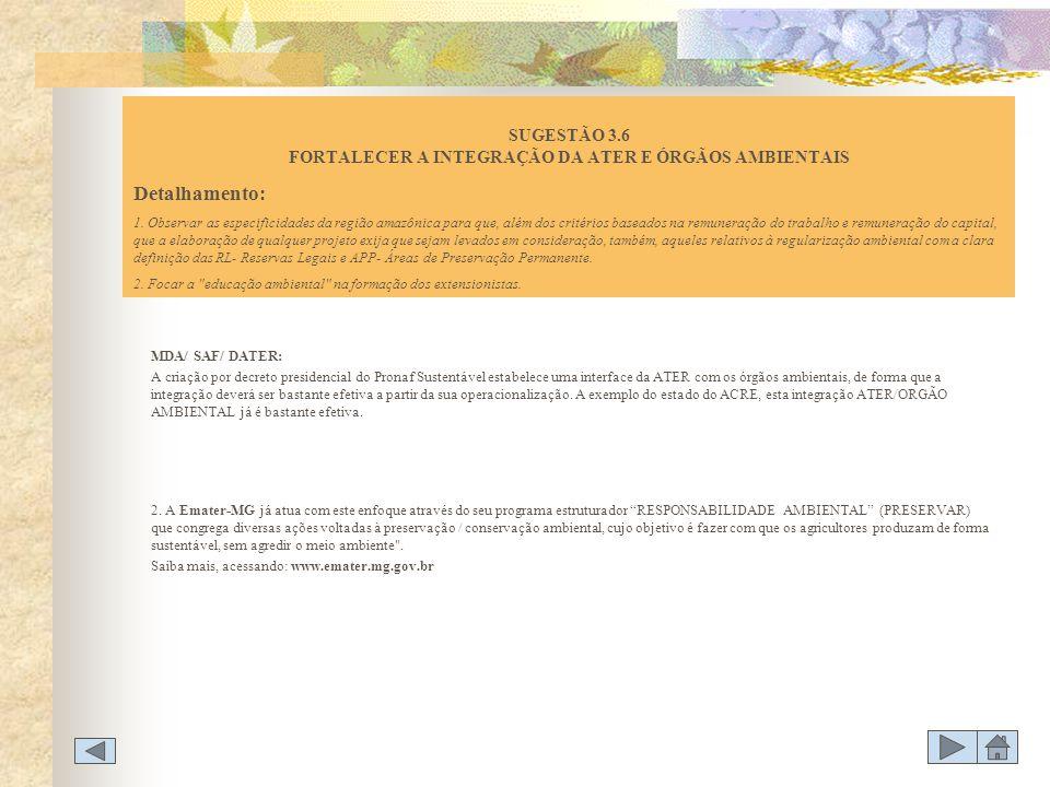 SUGESTÃO 3.6 FORTALECER A INTEGRAÇÃO DA ATER E ÓRGÃOS AMBIENTAIS