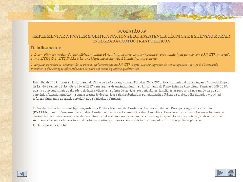 SUGESTÃO 3.9 IMPLEMENTAR A PNATER (POLÍTICA NACIONAL DE ASSISTÊNCIA TÉCNICA E EXTENSÃO RURAL) INTEGRADA COM OUTRAS POLÍTICAS