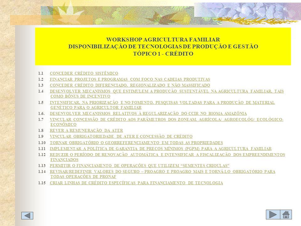 WORKSHOP AGRICULTURA FAMILIAR DISPONIBILIZAÇÃO DE TECNOLOGIAS DE PRODUÇÃO E GESTÃO TÓPICO 1 - CRÉDITO