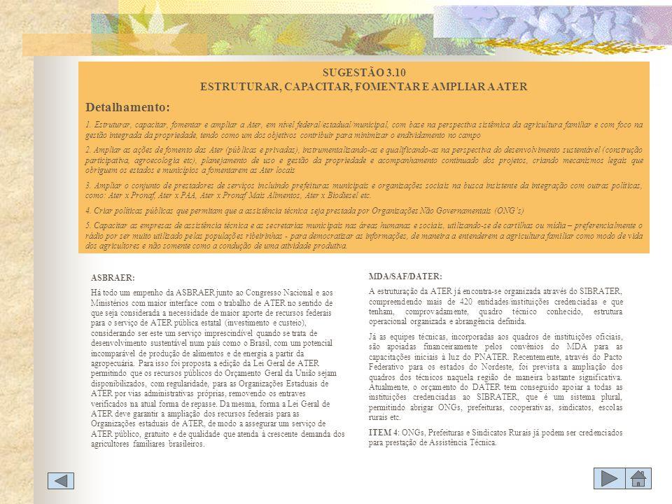 SUGESTÃO 3.10 ESTRUTURAR, CAPACITAR, FOMENTAR E AMPLIAR A ATER