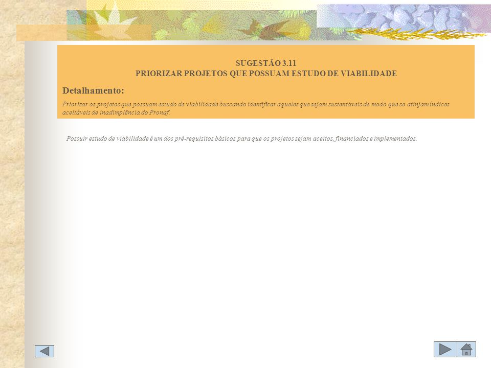 SUGESTÃO 3.11 PRIORIZAR PROJETOS QUE POSSUAM ESTUDO DE VIABILIDADE