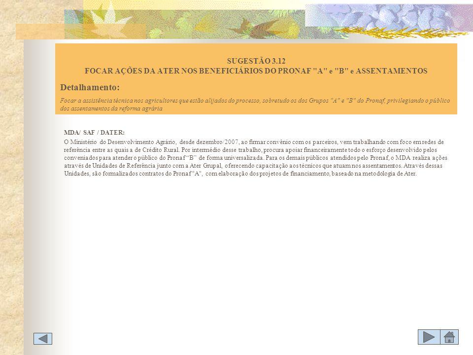 SUGESTÃO 3.12 FOCAR AÇÕES DA ATER NOS BENEFICIÁRIOS DO PRONAF A e B e ASSENTAMENTOS