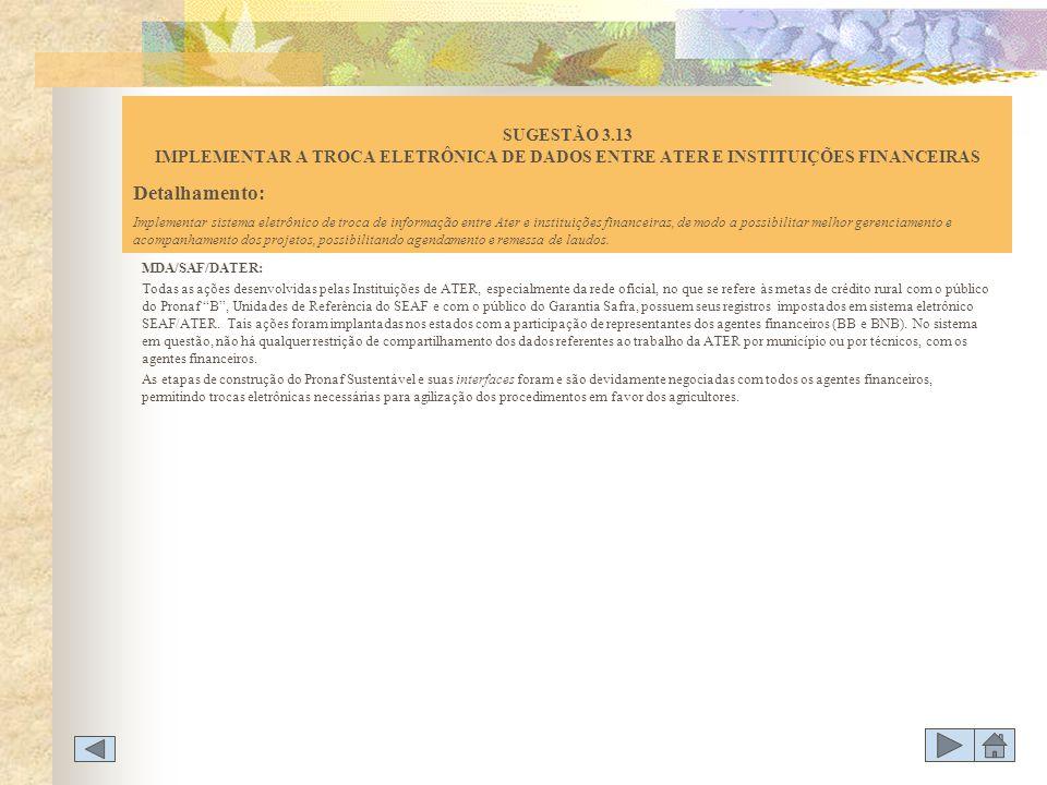 SUGESTÃO 3.13 IMPLEMENTAR A TROCA ELETRÔNICA DE DADOS ENTRE ATER E INSTITUIÇÕES FINANCEIRAS