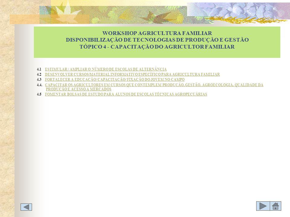 WORKSHOP AGRICULTURA FAMILIAR DISPONIBILIZAÇÃO DE TECNOLOGIAS DE PRODUÇÃO E GESTÃO TÓPICO 4 - CAPACITAÇÃO DO AGRICULTOR FAMILIAR
