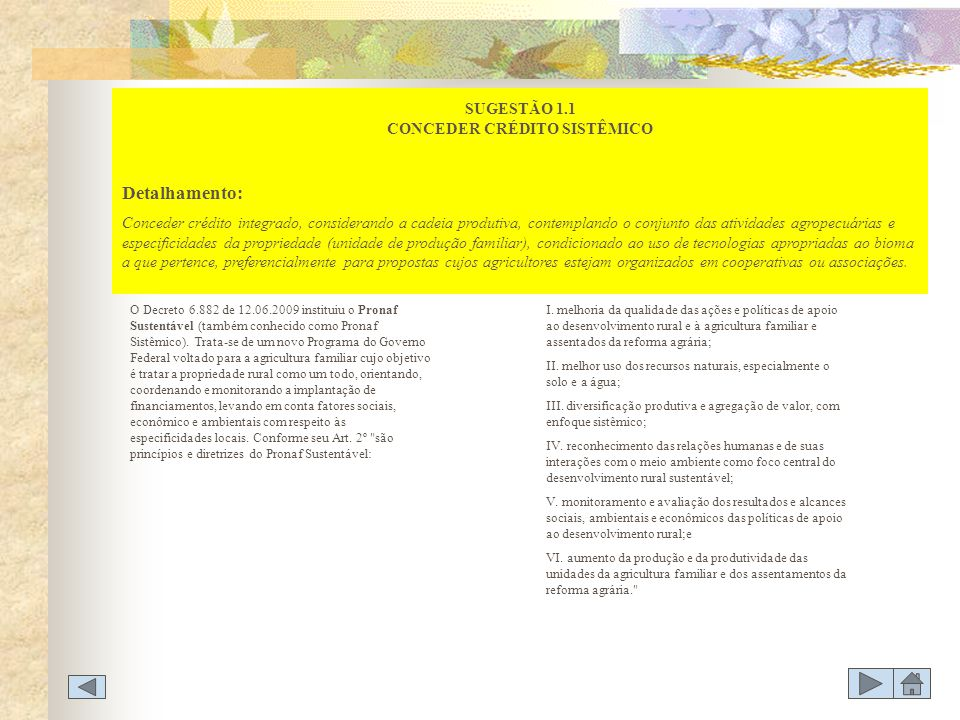 SUGESTÃO 1.1 CONCEDER CRÉDITO SISTÊMICO