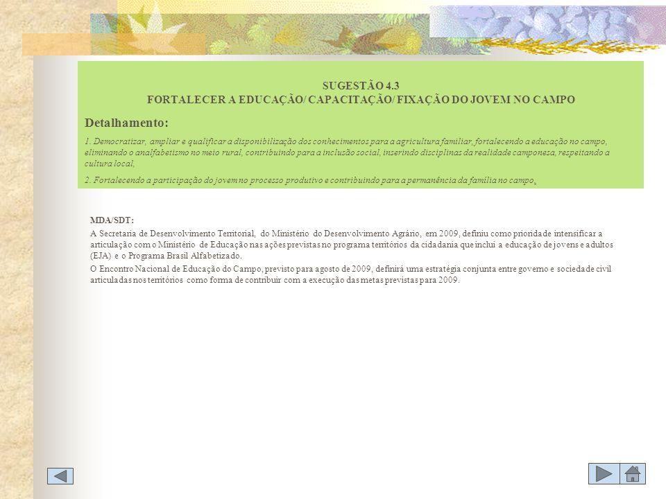 SUGESTÃO 4.3 FORTALECER A EDUCAÇÃO/ CAPACITAÇÃO/ FIXAÇÃO DO JOVEM NO CAMPO