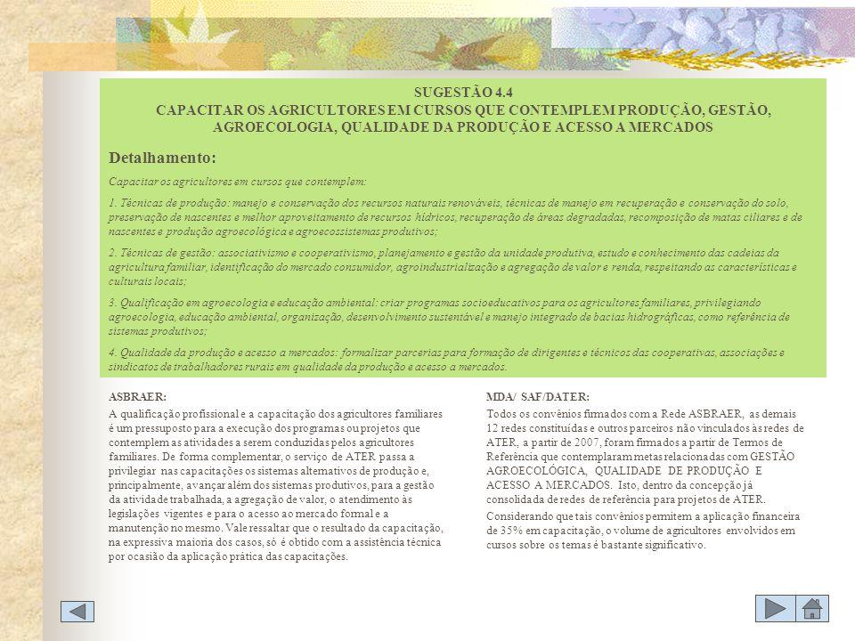 SUGESTÃO 4.4 CAPACITAR OS AGRICULTORES EM CURSOS QUE CONTEMPLEM PRODUÇÃO, GESTÃO, AGROECOLOGIA, QUALIDADE DA PRODUÇÃO E ACESSO A MERCADOS