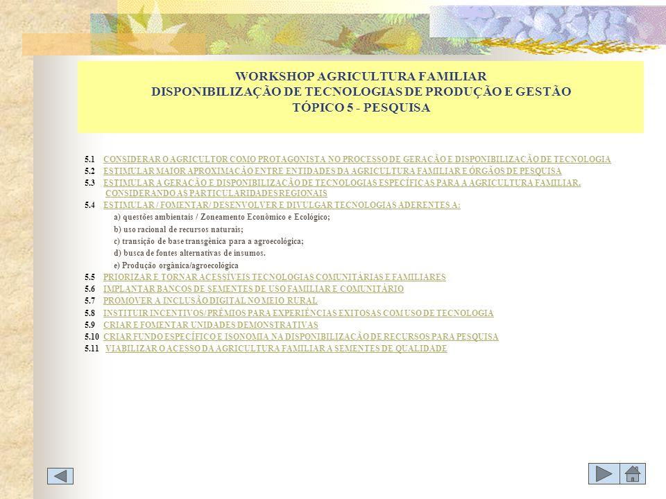 WORKSHOP AGRICULTURA FAMILIAR DISPONIBILIZAÇÃO DE TECNOLOGIAS DE PRODUÇÃO E GESTÃO TÓPICO 5 - PESQUISA