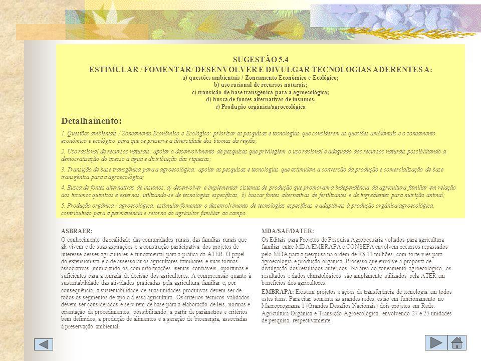 SUGESTÃO 5.4 ESTIMULAR / FOMENTAR/ DESENVOLVER E DIVULGAR TECNOLOGIAS ADERENTES A: a) questões ambientais / Zoneamento Econômico e Ecológico; b) uso racional de recursos naturais; c) transição de base transgênica para a agroecológica; d) busca de fontes alternativas de insumos. e) Produção orgânica/agroecológica