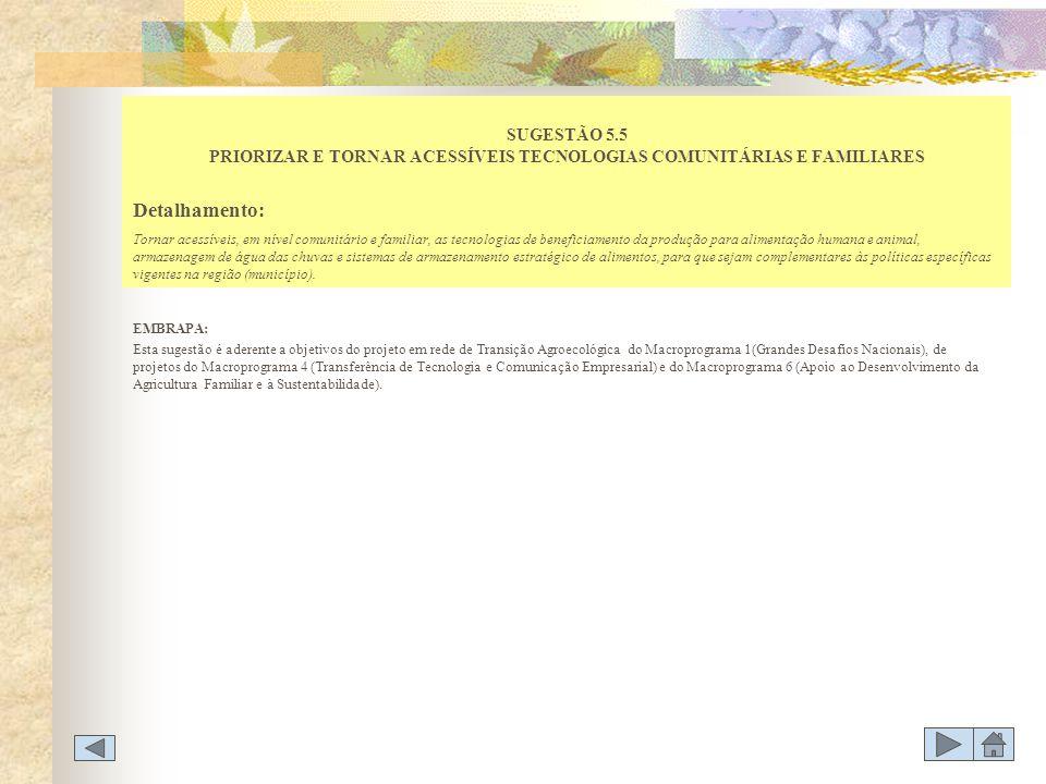 SUGESTÃO 5.5 PRIORIZAR E TORNAR ACESSÍVEIS TECNOLOGIAS COMUNITÁRIAS E FAMILIARES